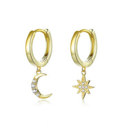 Genuine 925 Sterling Silver Moon and Star Dangle Earrings with Charm Clear CZ Gold Color Jewelry 2020 New Bijoux SCE785