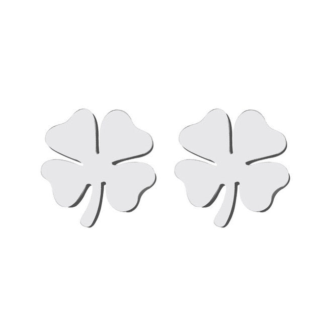 Stud Earring For Women Man Clover Gold And Silver Color Lover's Engagement Jewelry Drop Shipping
