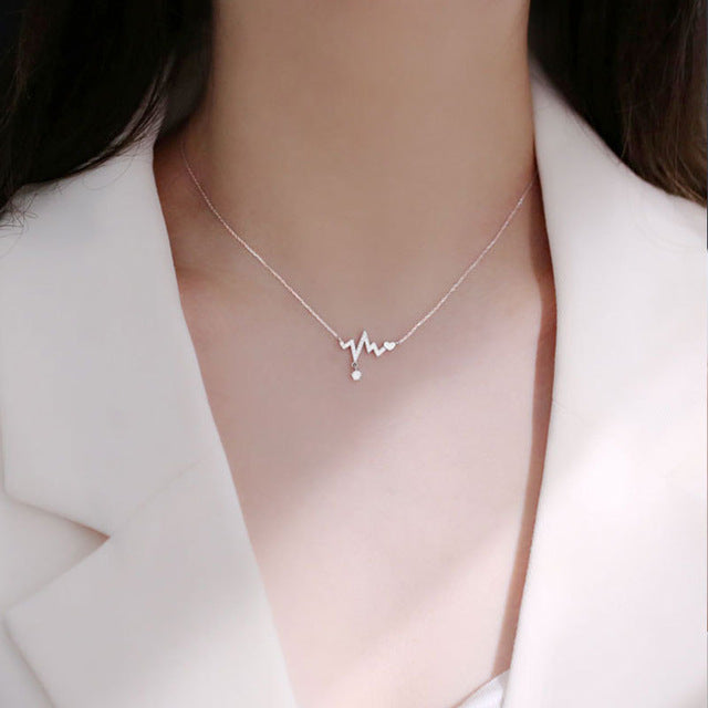 925 Sterling Silver Fashion Heartbeat Chokers Necklace For Women Stethoscope Heart Star Clavicle Chain Doctor Nurse Medical Gift