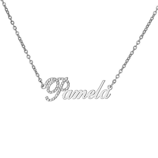 Custom Name Pendant Necklace with Crystal Initials Lucky Word Woman Jewelry