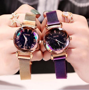 Hot Sale Fashion Ladies Wrist Watch 2019 Rose Gold Women Watch Luxury Elegant Magnet Buckle Starry Sky Roman Numeral Gift Clock - CHOIES SHOP