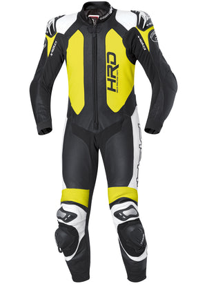 Held Slade 1-Piece Mens Leather Suit - Black/White/Fluo Yellow - Urban Nomads Motorcycle Clothing