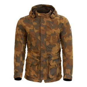 Merlin Belmot Waxed Cotton Parka Style Waterproof Jacket - Tan Camo - Urban Nomads Motorcycle Clothing