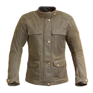 Merlin Buxton Ladies Waterproof Waxed Cotton Jacket - Olive - Urban Nomads Motorcycle Clothing