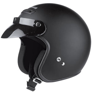 Held Rune Open Face Helmet - Matte Black - Urban Nomads Motorcycle Clothing