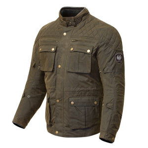 Merlin Yoxall Wax Cotton Waterproof Jacket - Olive - Urban Nomads Motorcycle Clothing
