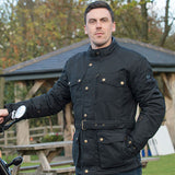 Merlin Atlow Wax Cotton Waterproof Jacket - Navy - Urban Nomads Motorcycle Clothing