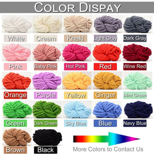 DIY Arm Knitting Home Rug  knitted Throw Chunky Chenille Yarn Blanket Mat Bulky Thick Hand Knitting Supplies D35