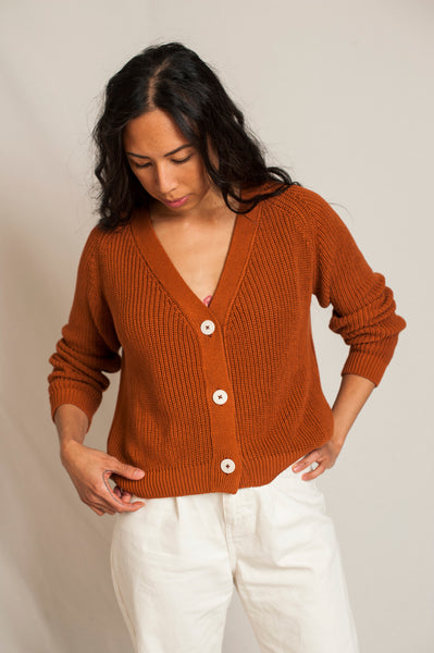 L'Envers - Anna Organic Cotton Cardigan - GOTS certificated - Color Ocre - Preview Picture