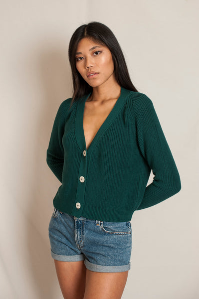 L'Envers - Anna Organic Cotton Sweater - GOTS certificated - Color Green Forest - Preview Picture