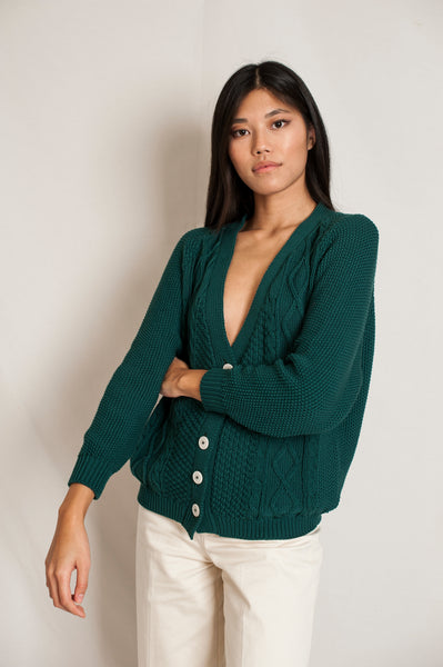 L'Envers - Annie Organic Cotton Cardigan - GOTS certificated - Color Forest Green - Preview Picture