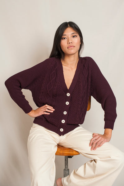 L'Envers - Annie Organic Cotton Cardigan - GOTS certificated - Color Plum - Preview Picture
