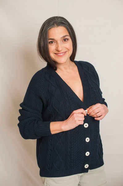 L'Envers - Annie Organic Cotton Cardigan - GOTS certificated - Color Navy Blue - Preview Picture