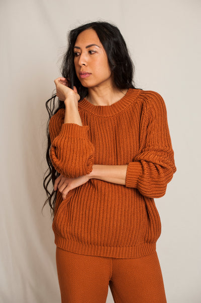 L'Envers - Brigitte Organic Cotton Sweater - GOTS certificated - Color Ocre - Preview Picture