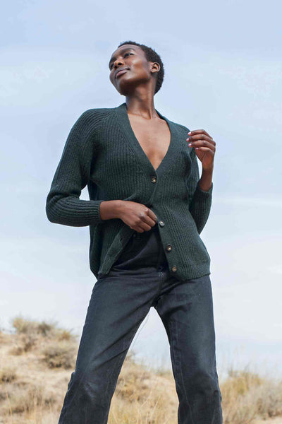CLAUDE Dark Green Cardigan