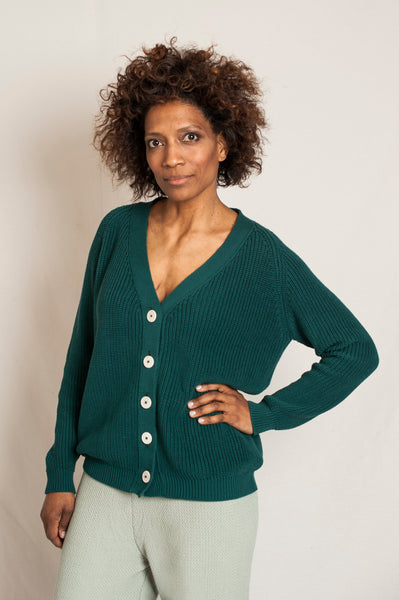 L'Envers - Claude Organic Cotton Cardigan - GOTS certificated - Color Forest Green - Preview Picture