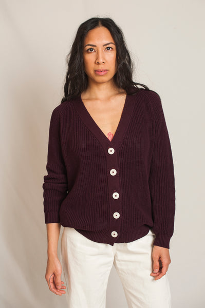 L'Envers - Claude Organic Cotton Cardigan - GOTS certificated - Color Plum - Font Picture
