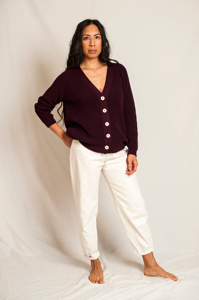 L'Envers - Claude Organic Cotton Cardigan - GOTS certificated - Color Plum - Preview Picture