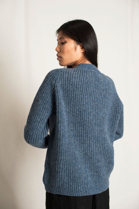 L'Envers - Claude Spanish Wool Cardigan - Non Mulesed Certificated - Color Sky Blue - Back Picture