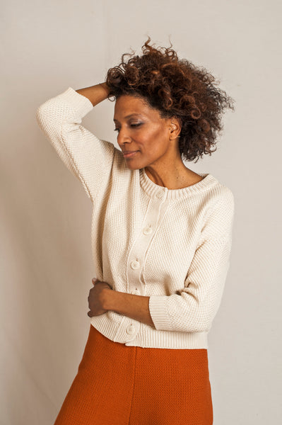 L'Envers - Séraphine Organic Cotton Cardigan - GOTS certificated - Color Off White - Preview Picture