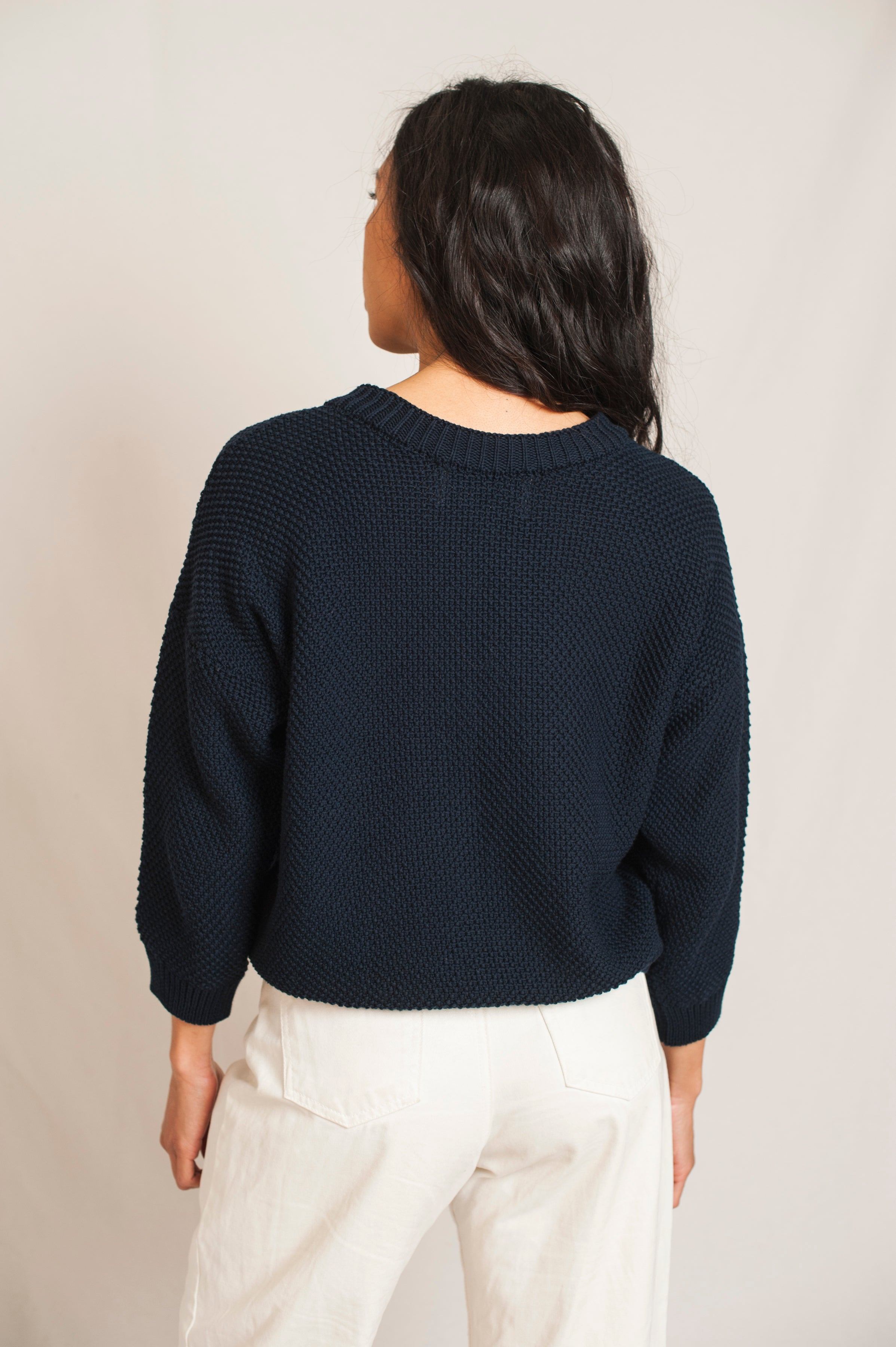 L'Envers - Séraphine Organic Cotton Cardigan - GOTS certificated - Color Navy Blue - Back Picture
