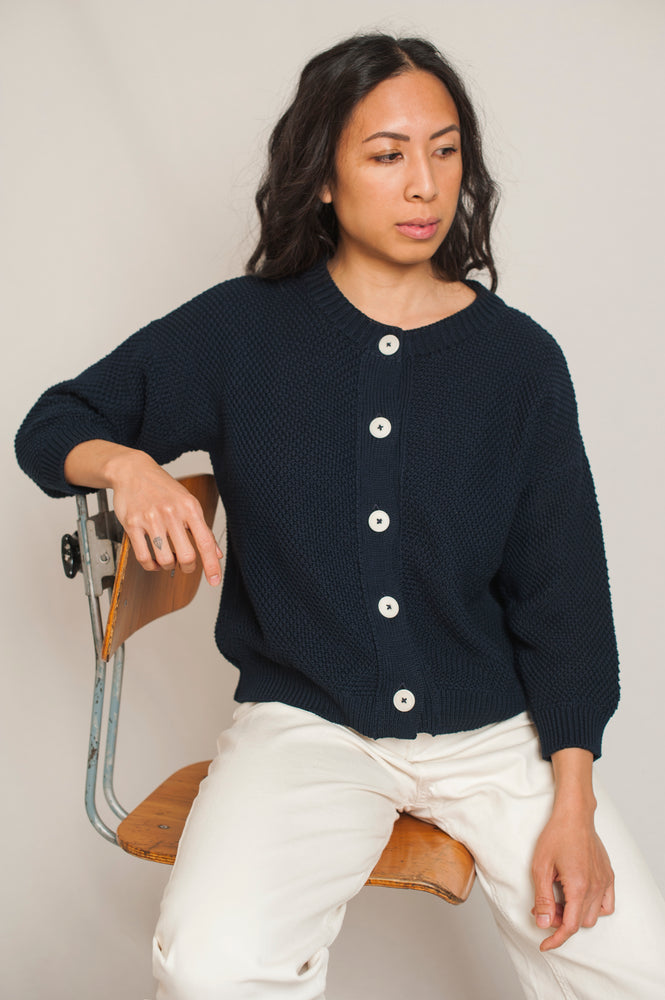 L'Envers - Séraphine Organic Cotton Cardigan - GOTS certificated - Color Navy Blue - Preview Picture