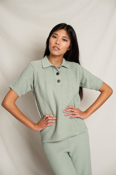 L'Envers - Édith Organic Cotton Polo - GOTS certificated - Color Sage Green - Preview Picture