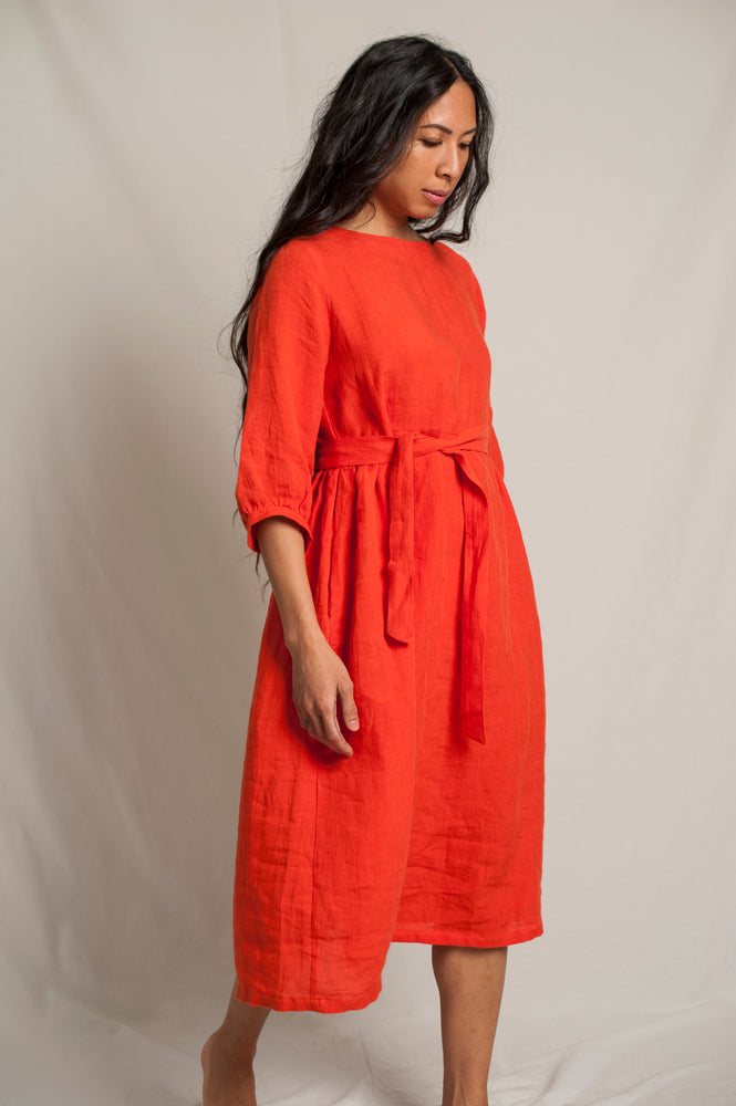 L'Envers - Flora Linen Dress - 100% French linen - Color Coral - Font Picture