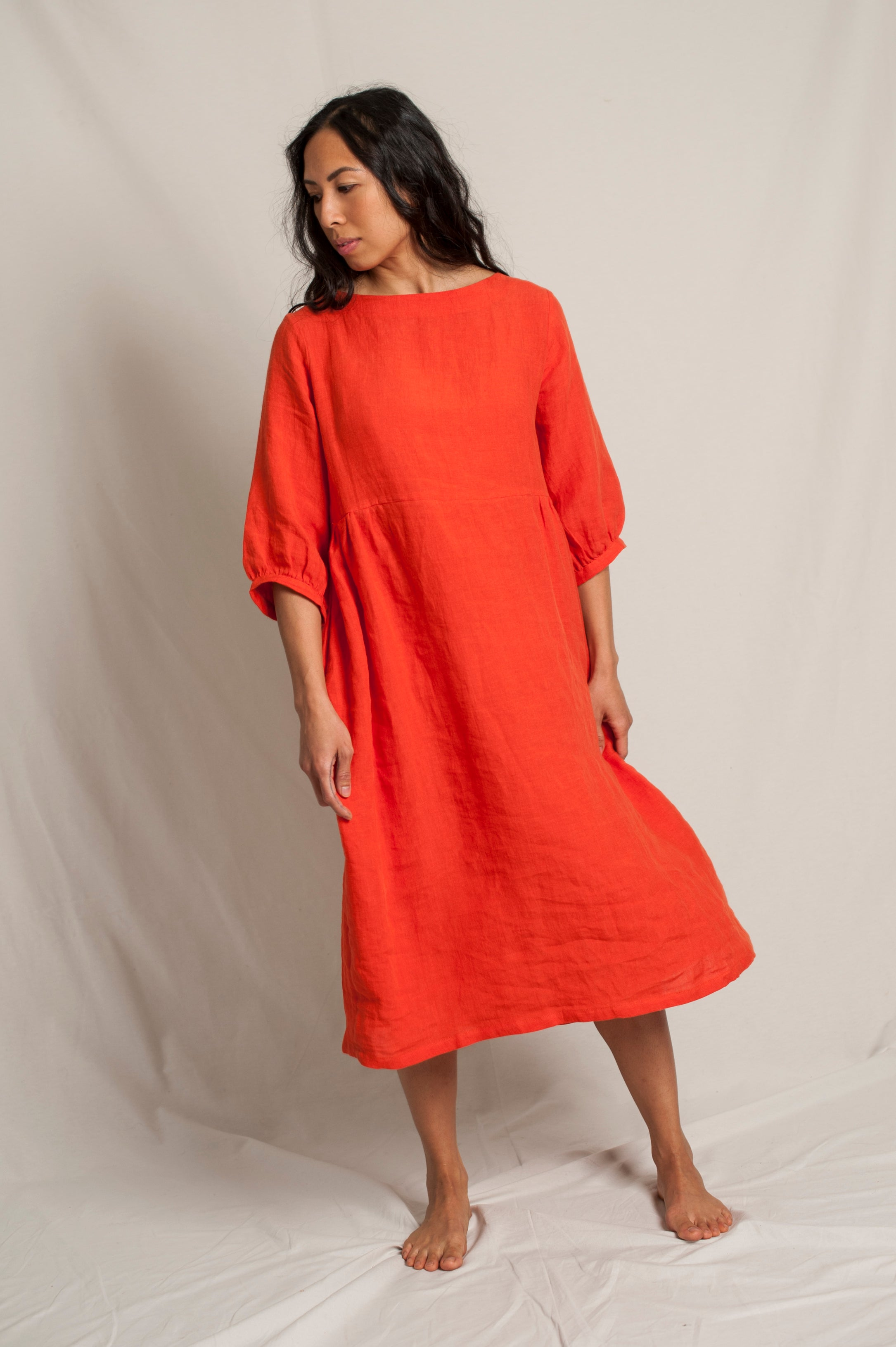 L'Envers - Flora Linen Dress - 100% French linen - Color Coral - Preview Picture
