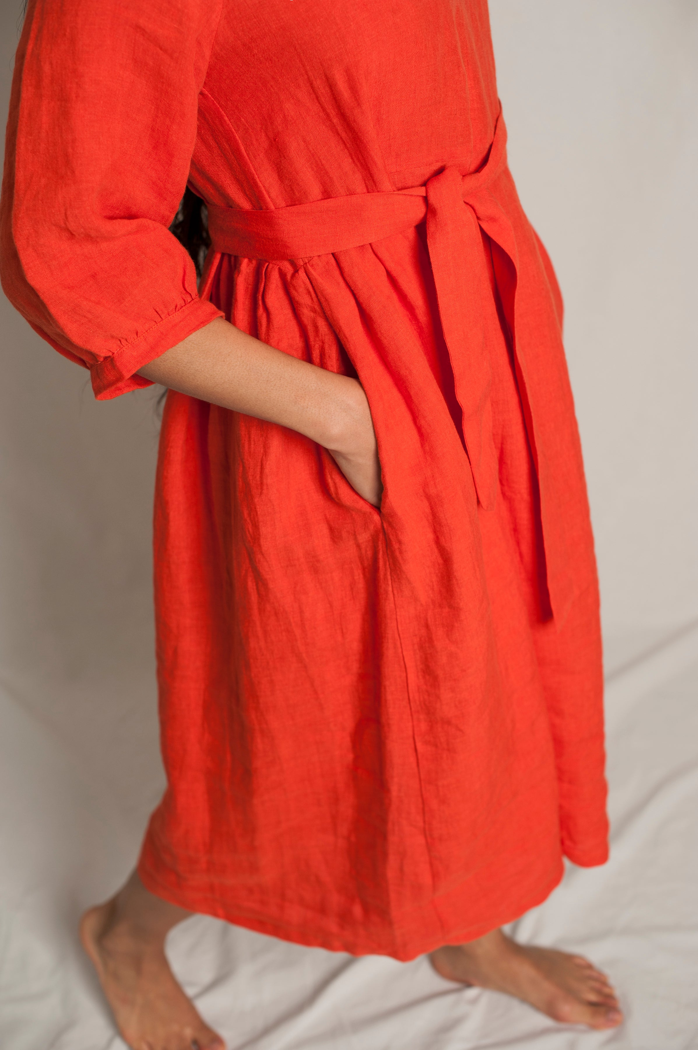 L'Envers - Flora Linen Dress - 100% French linen - Color Coral - Zoom Picture