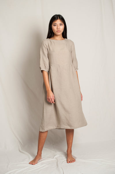 L'Envers - Flora Linen Dress - 100% French Linen - Color Natural - Font Picture