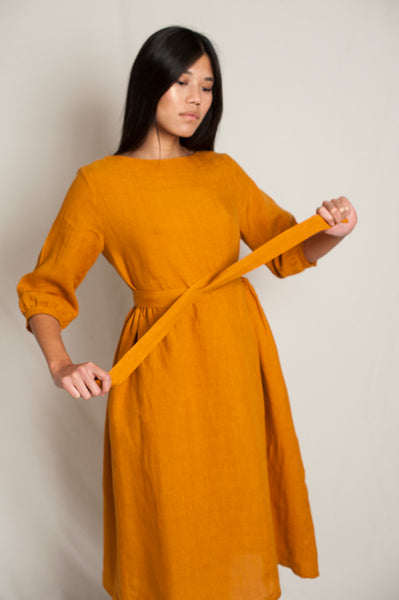 L'Envers - Flora Linen Dress - 100% French linen - Color Ocre - Preview Picture