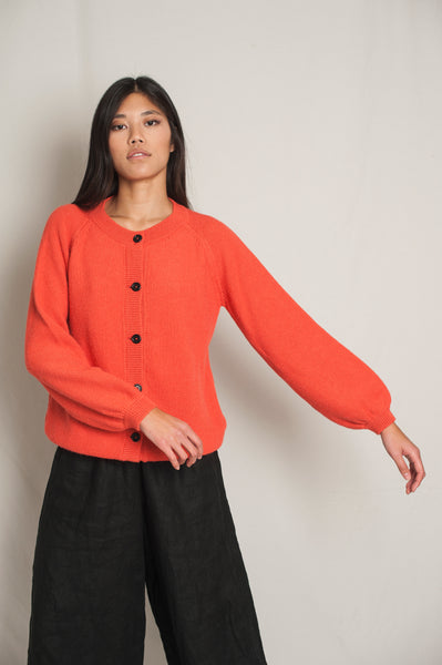 L'Envers - Gaby Alpaca Wool Cardigan - RWS & IWTO Standards - Color Coral - Preview Picture