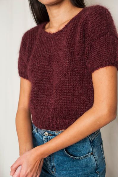 L'Envers - Gaia 100% Mohair Top - 100% French Mohair - Color Burgundy - Preview Picture
