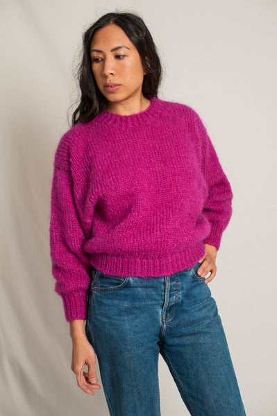 L'Envers - Gala 100% Mohair Sweater - 100% French Mohair - Color Bright Pink - Front Picture