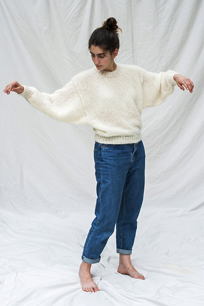 L'Envers - Gala 100% Mohair Sweater - 100% French Mohair - Color White - Preview Picture