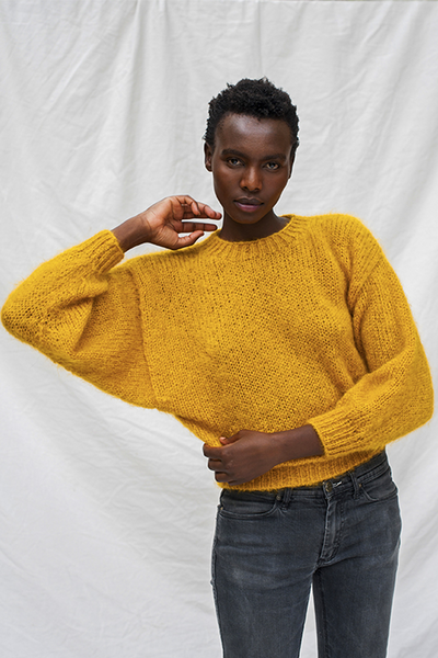 L'Envers - Gala 100% Mohair Sweater - 100% French Mohair - Color Mustard - Font Picture
