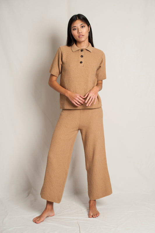 L'Envers - Louise Organic Cotton Pants - GOTS certificated - Color Cappuccino - Font Picture