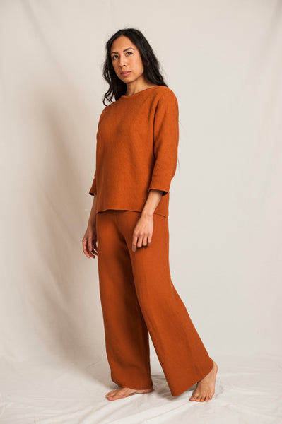 L'Envers - Louise Organic Cotton Pants - GOTS certificated - Color Ocre - Preview Picture