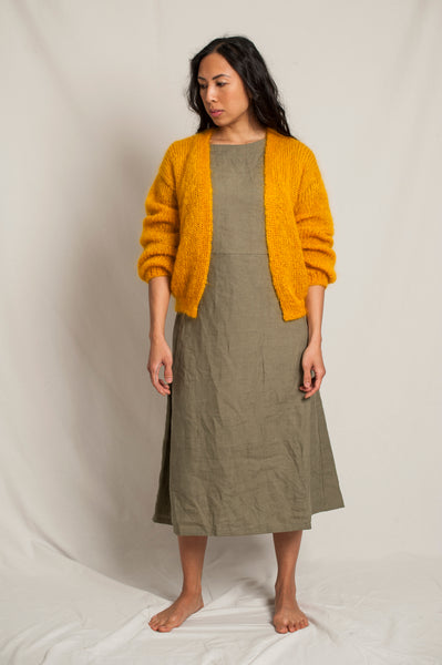 L'Envers - Louna 100% Mohair Cardigan - 100% French Mohair - Color Mustard - Front Picture