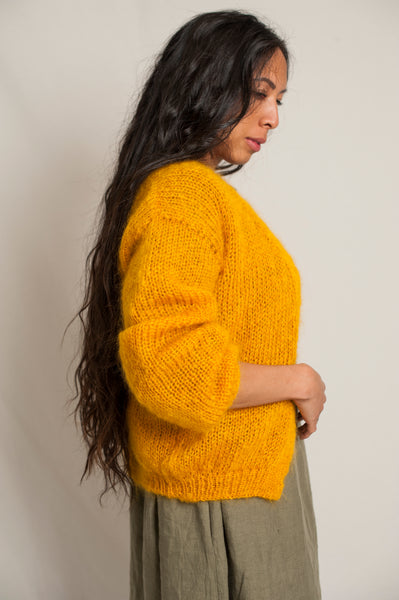 L'Envers - Louna 100% Mohair Cardigan - 100% French Mohair - Color Mustard - Preview Picture