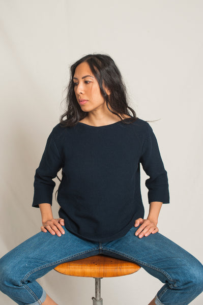 L'Envers - Marguerite Organic Cotton Top - GOTS certificated - Color Navy Blue - Preview Picture
