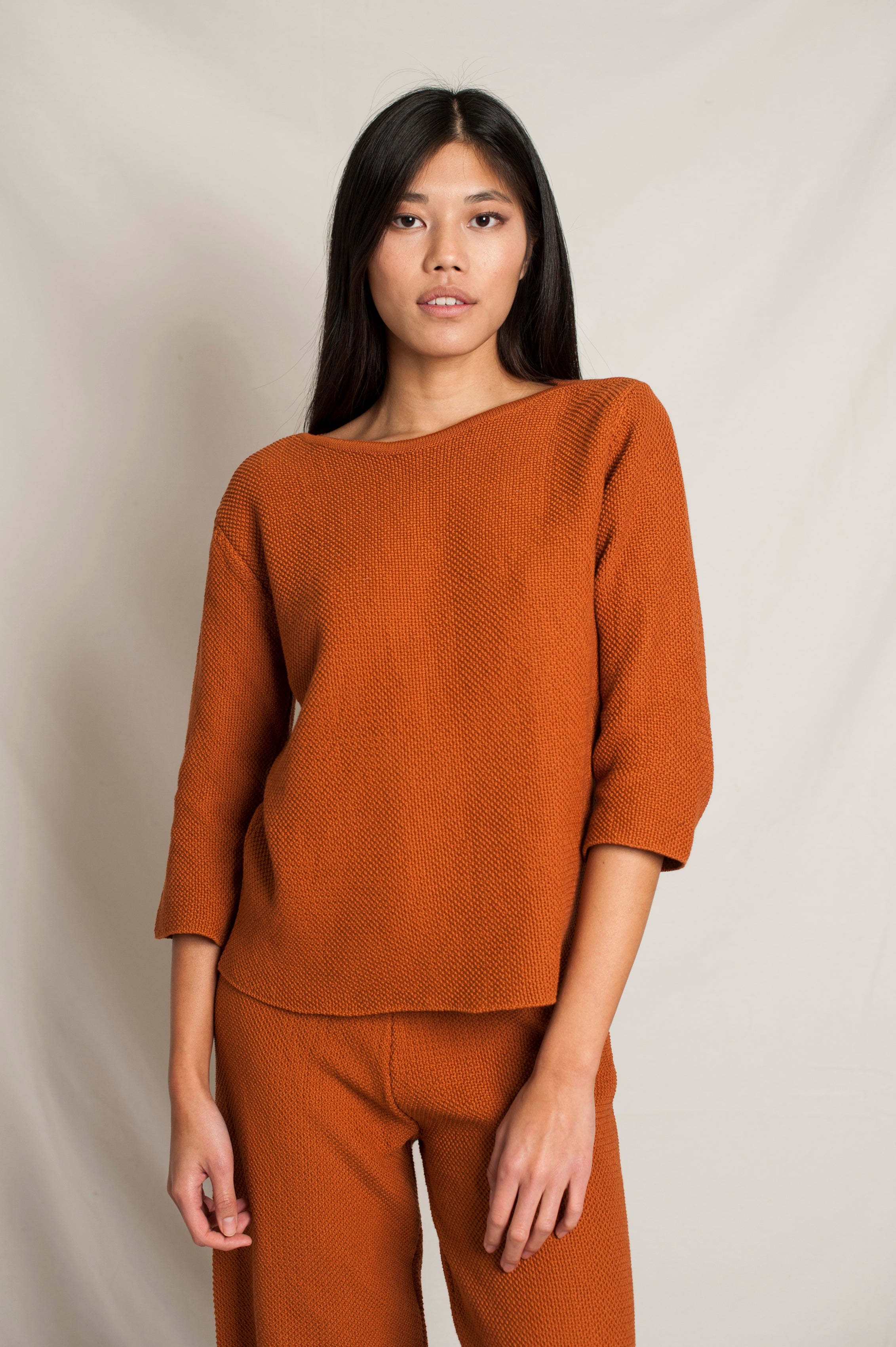 L'Envers - Marguerite Organic Cotton Top - GOTS certificated - Color Ocre - Font Picture
