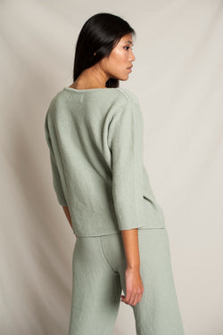 L'Envers - Marguerite Organic Cotton Top - GOTS certificated - Color Sage Green - Back Picture