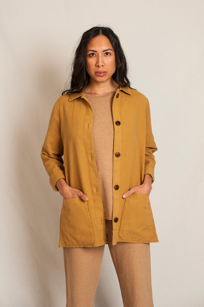 L'Envers - Niki Hemp Worker Jacket - Upcycled Hemp - Color Mustard - Preview Picture