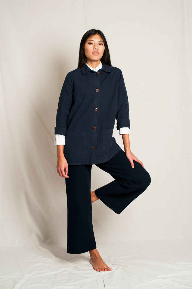 L'Envers - Niki Hemp Worker Jacket - Upcycled Hemp - Color Navy - Preview Picture