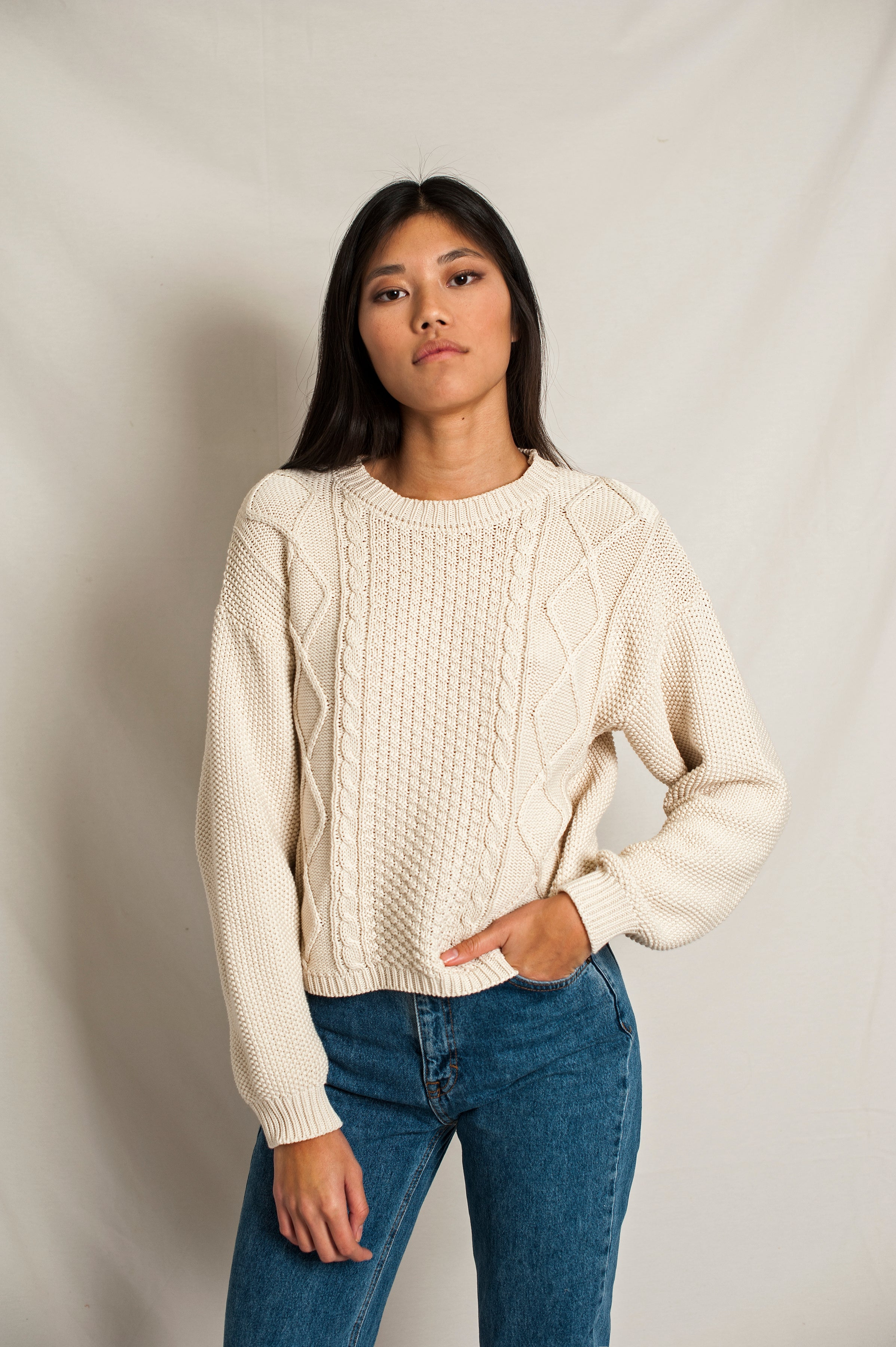 L'Envers - Paola Organic Cotton Sweater - GOTS certificated - Color Off-White - Font Picture