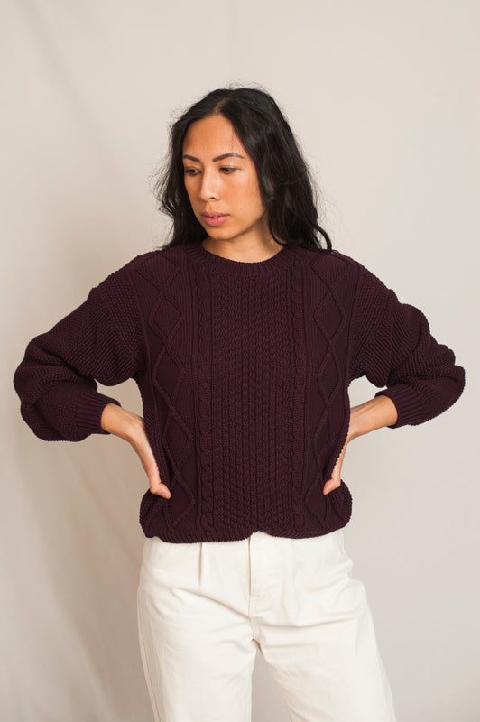 L'Envers - Paola Organic Cotton Sweater - GOTS certificated - Color Plum - Preview Picture