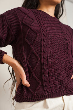 L'Envers - Paola Organic Cotton Sweater - GOTS certificated - Color Plum - Zoom Picture