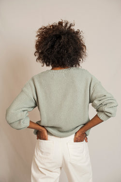 L'Envers - Paola Organic Cotton Sweater - GOTS certificated - Color Sage Green - Back Picture
